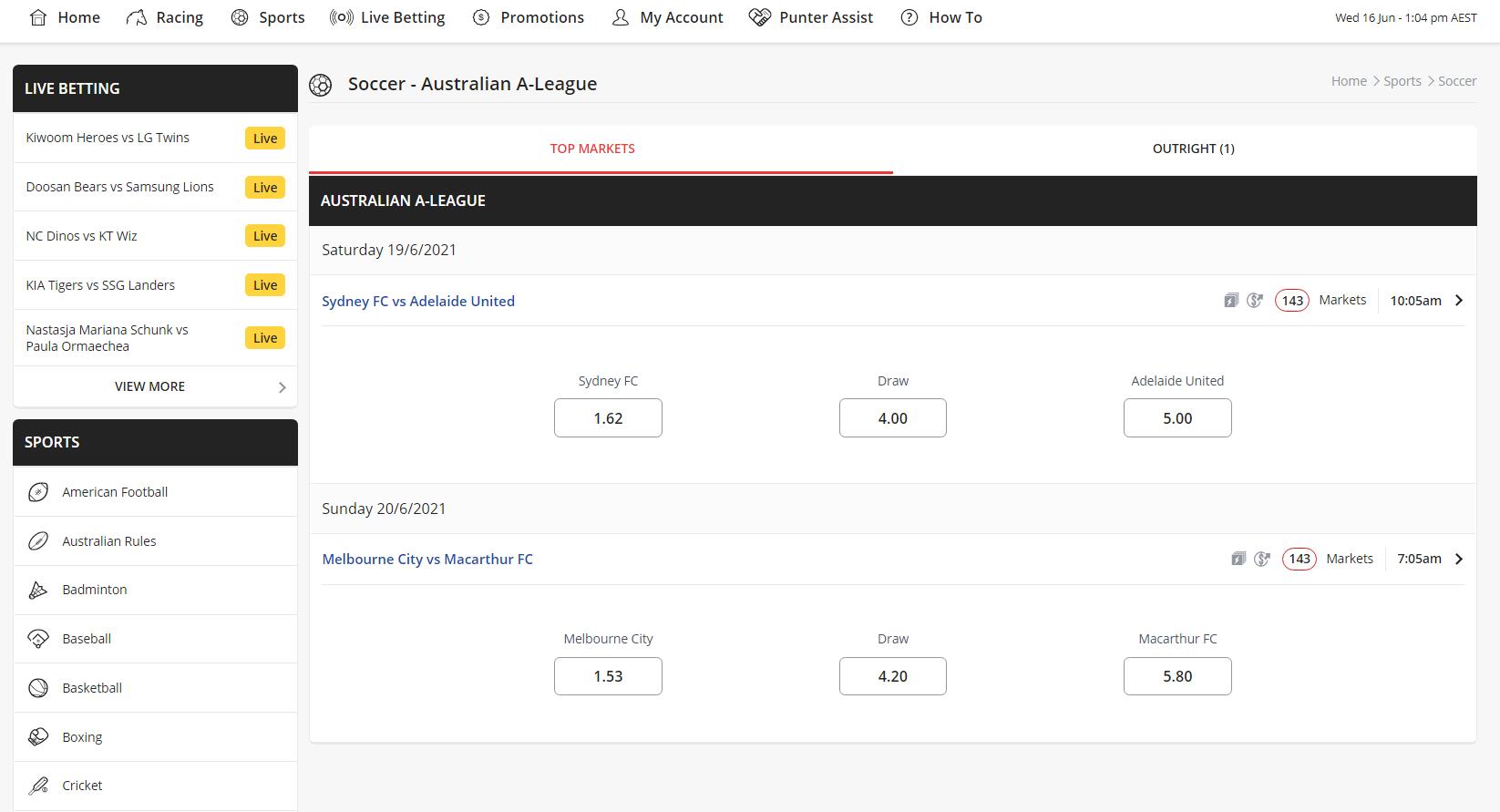 Australian soccer betting sites - Ladbrokes markets