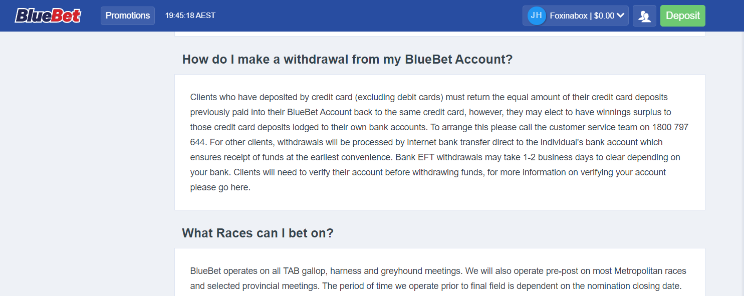 bluebet review - withdrawal