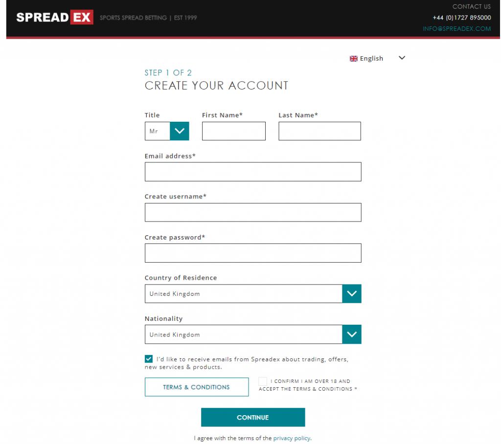 Spreadex signup form