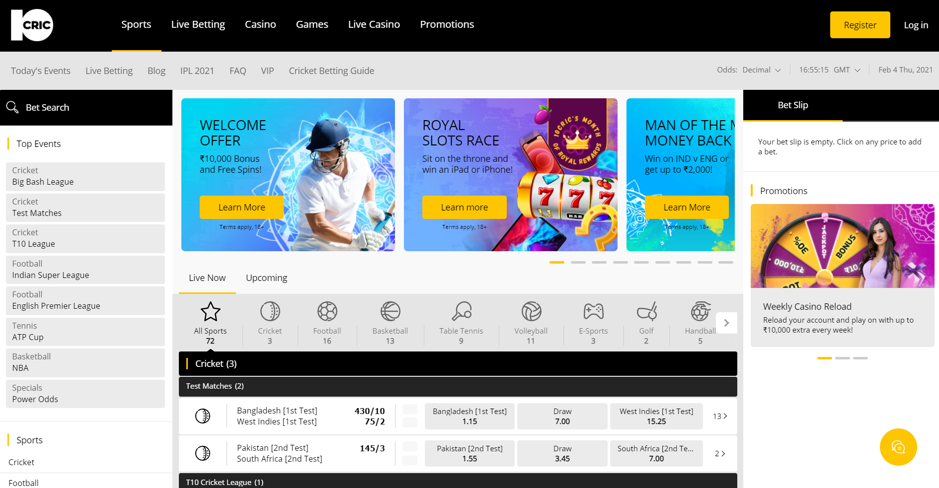 Top IPL Betting Sites - 10Cric home page