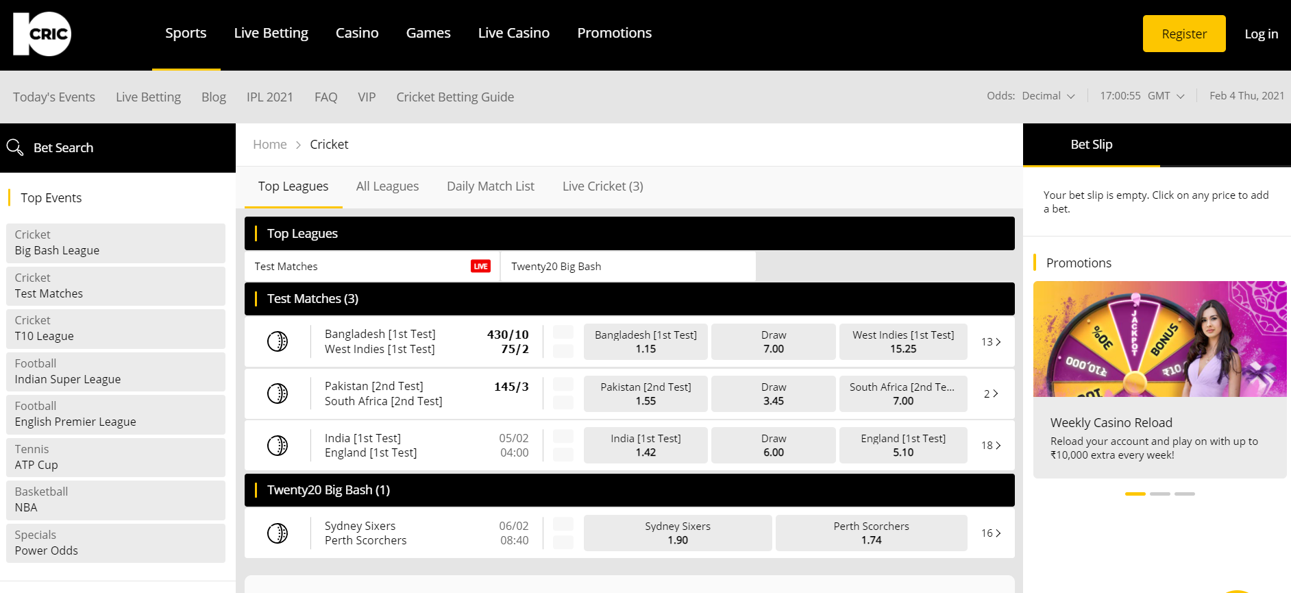 Top IPL Betting Sites - 10Cric markets