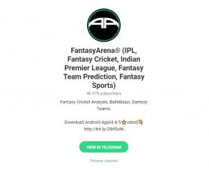 fantasyarena cricket telegram
