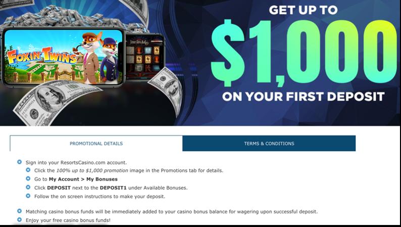 100% up to $1000 First Deposit Bonus