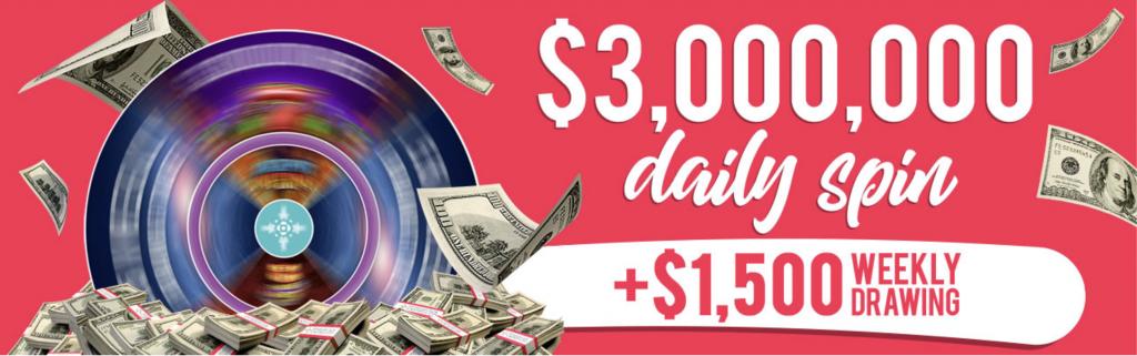 Mohegan Sun Online Casino - $3 Million Daily Spins Promo