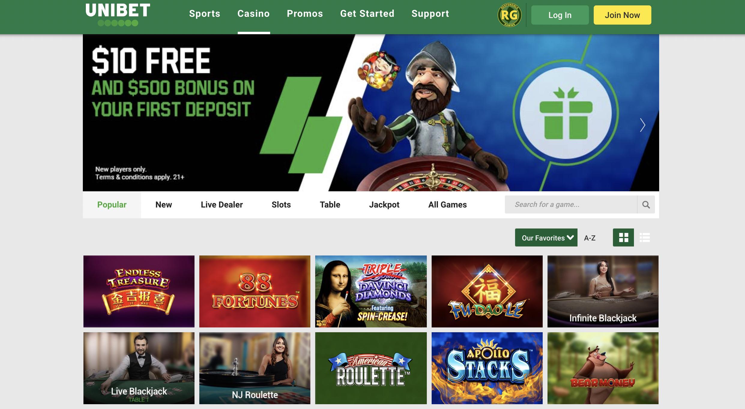 Unibet Online Casino - Join Now Homepage