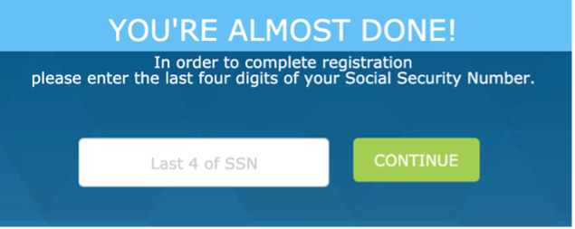 Step 3: Provide the last four digits of SSN
