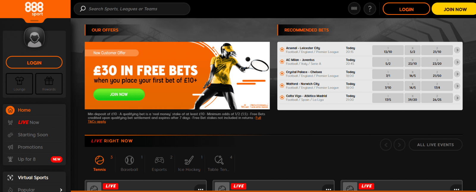 live streaming betting sites 888Sports