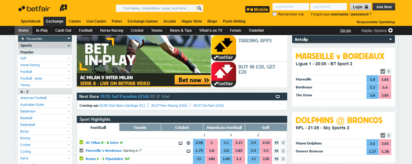 Betfair Champions League betting