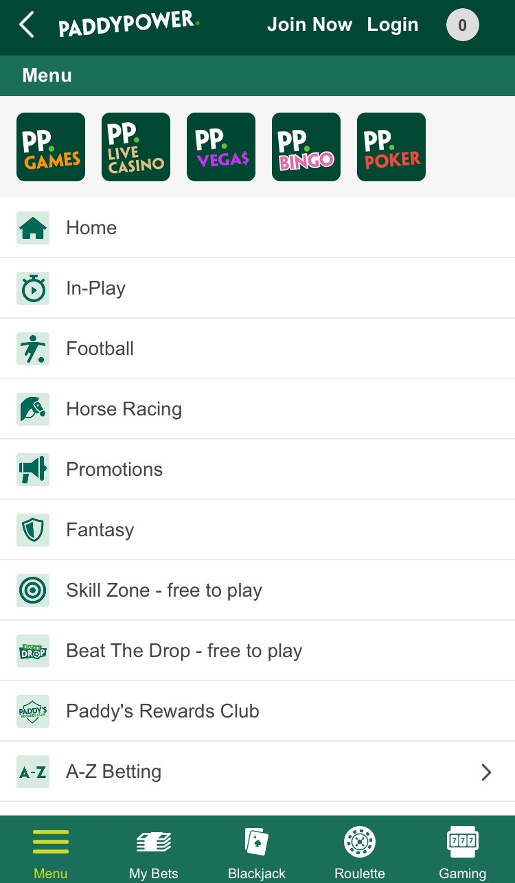 Paddy Power App Lobby