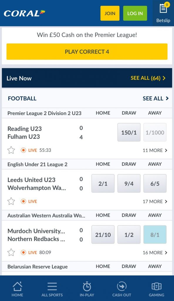 Coral Betting App LIve