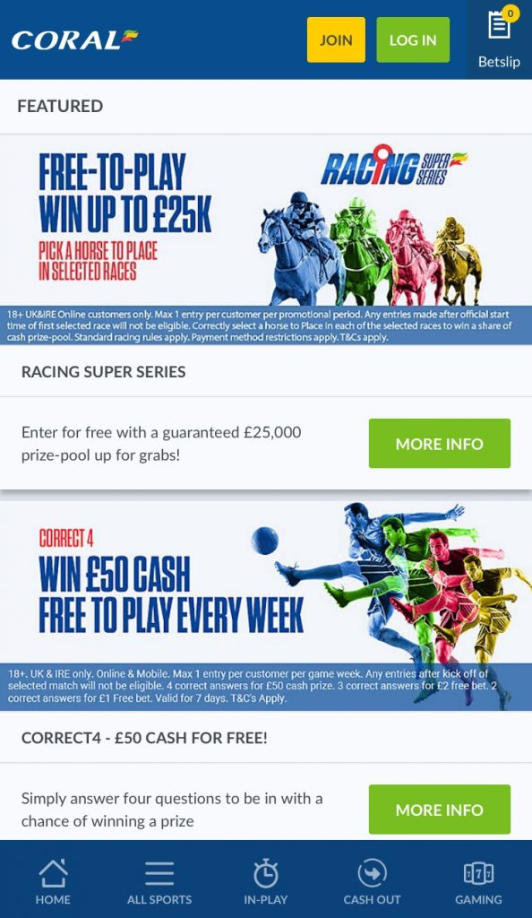 Coral Betting App Promotions