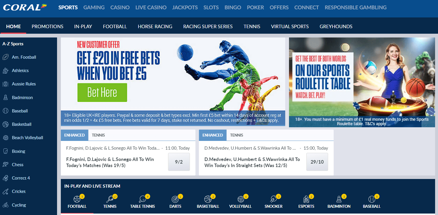 Betting Sites with Live Streaming Coral
