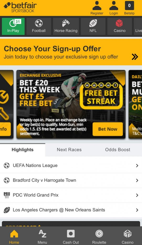 betfair football betting app