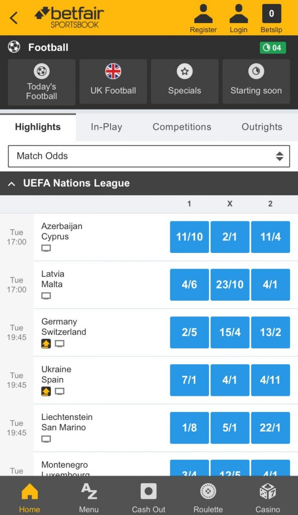 betfair football betting app in play