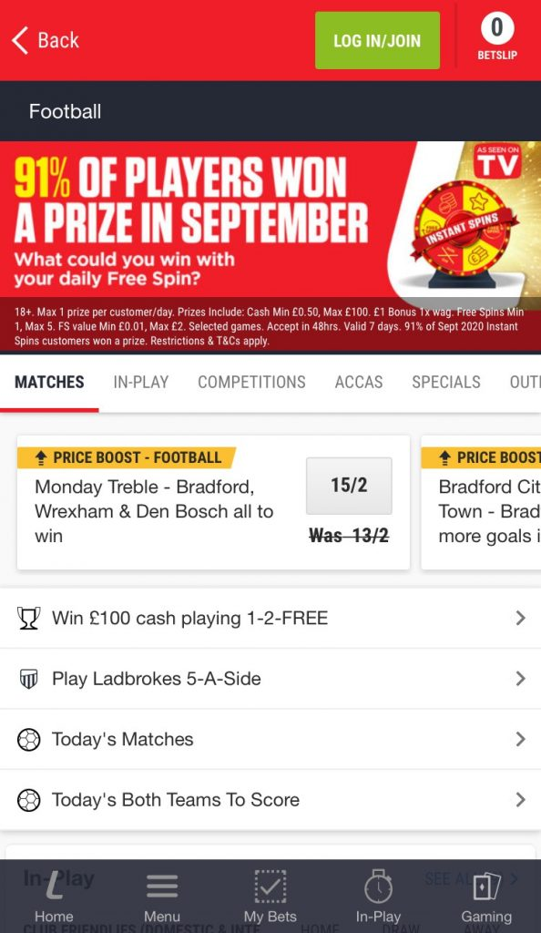 ladbrokes football betting app specials