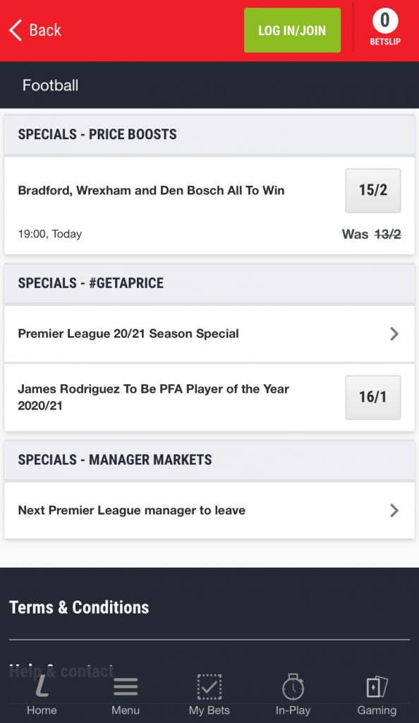 ladbrokes football betting app price boost