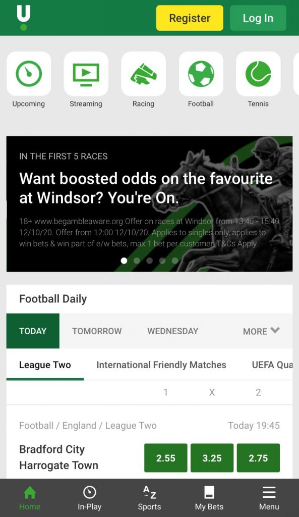 unibet football betting app