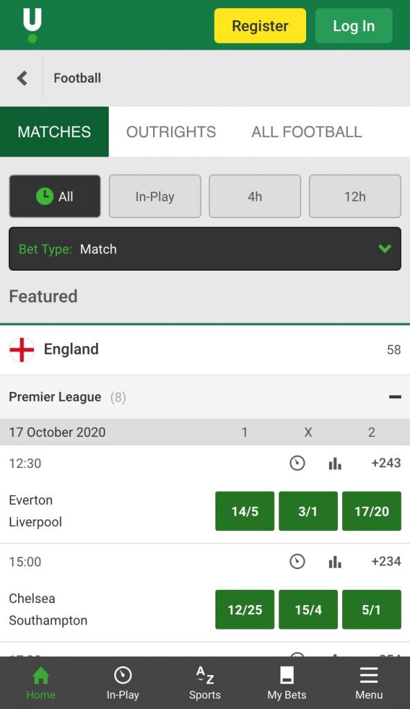 unibet football betting app matches