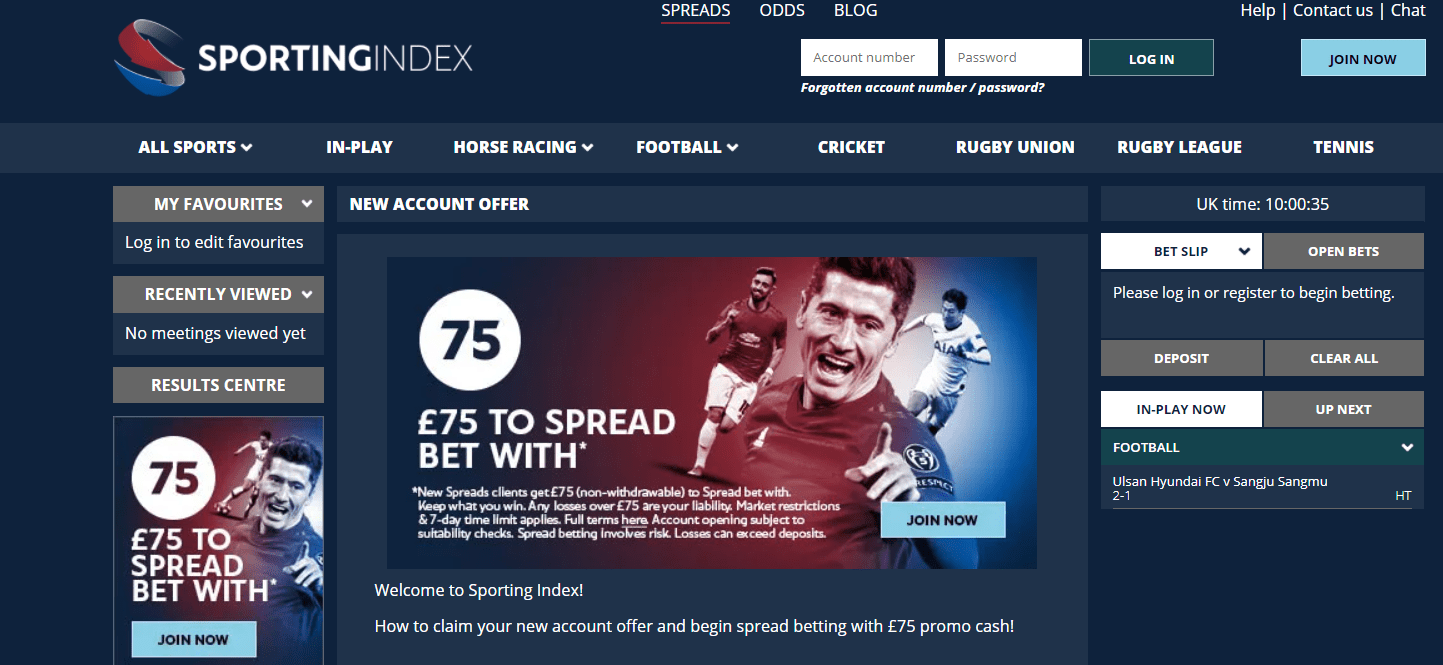 Sporting Index Sports Spread Betting