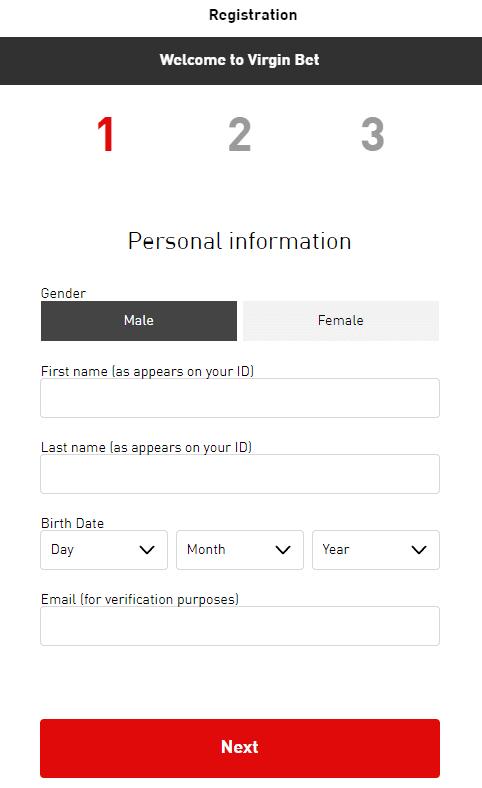 Virgin Bet registration form
