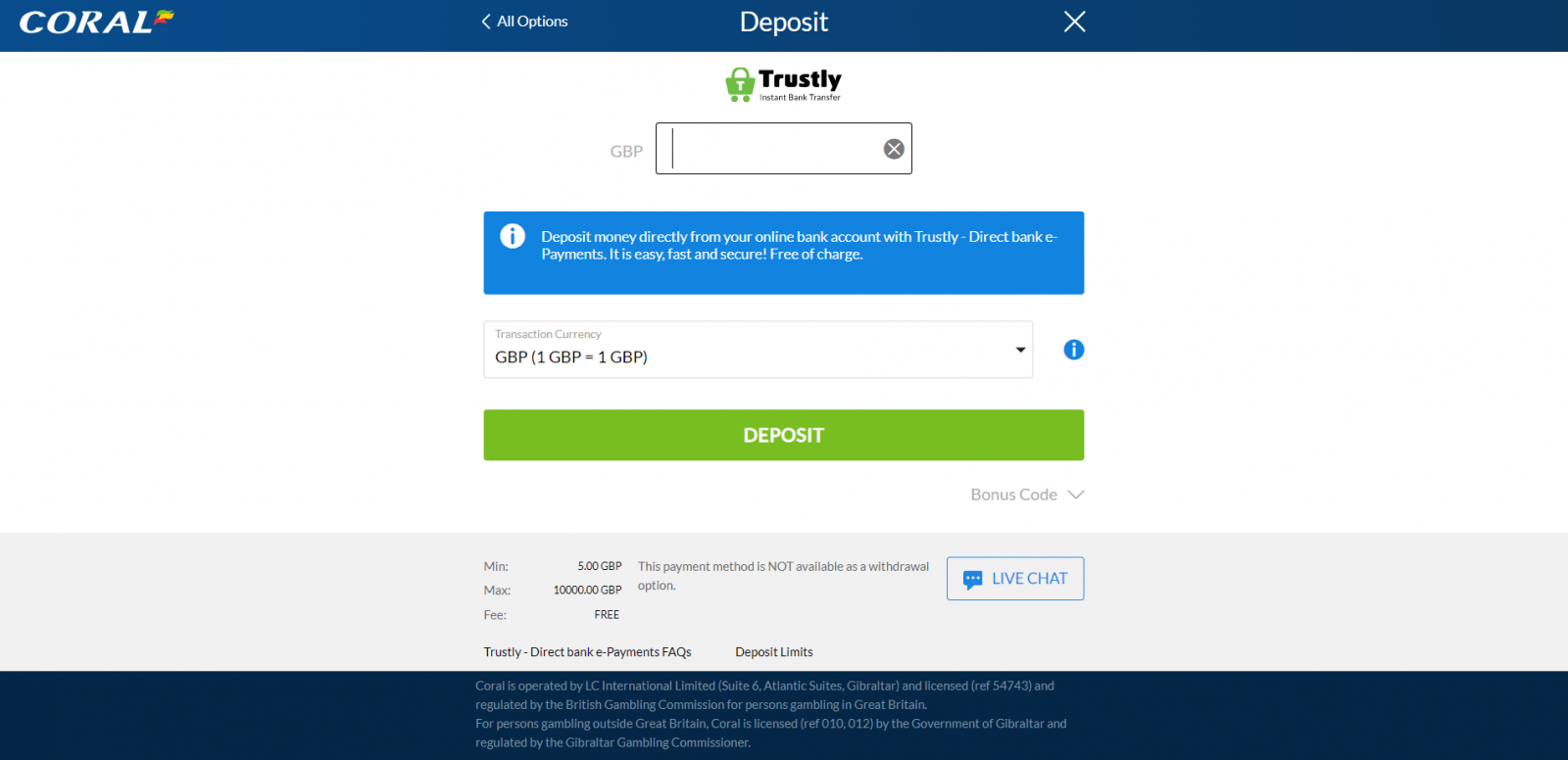 Coral Trustly betting site - deposit page