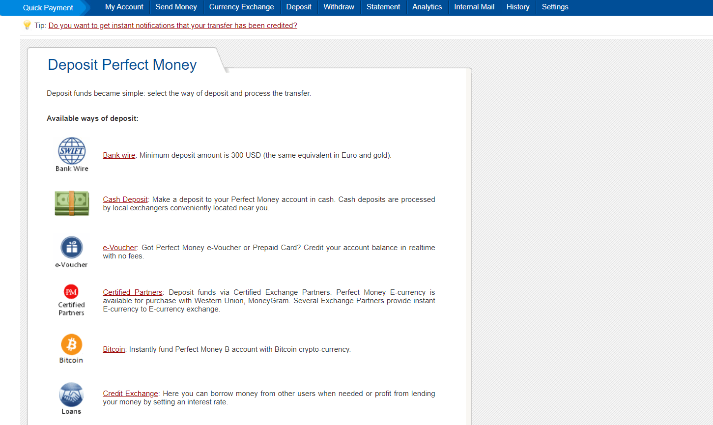 Perfect Money betting sites - deposit screen