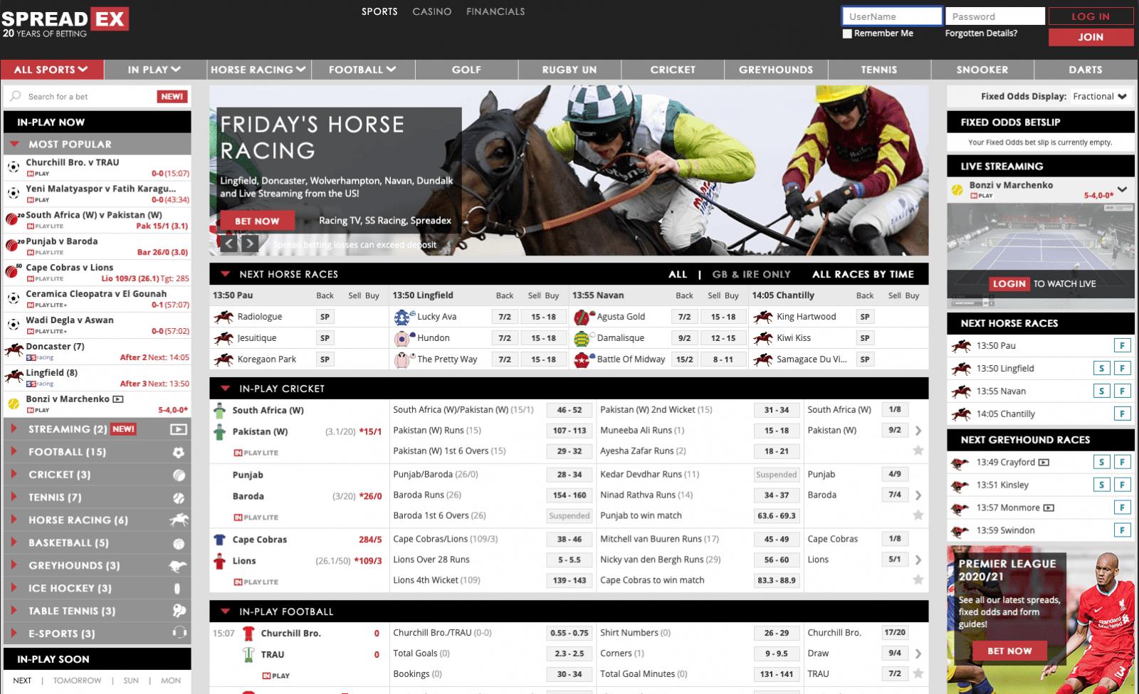 Betting sites - Spreadex