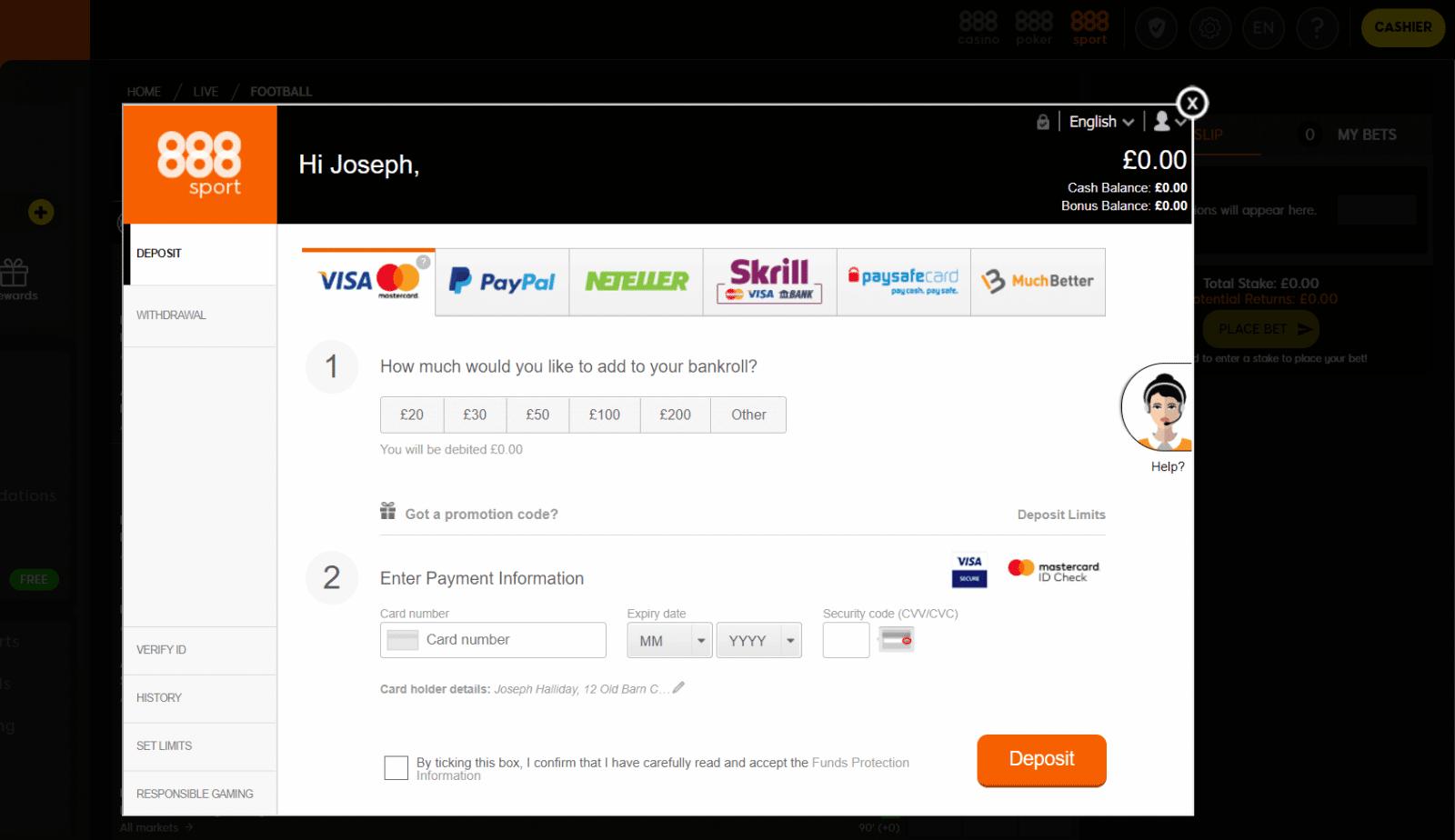888sport free bet deposit screen