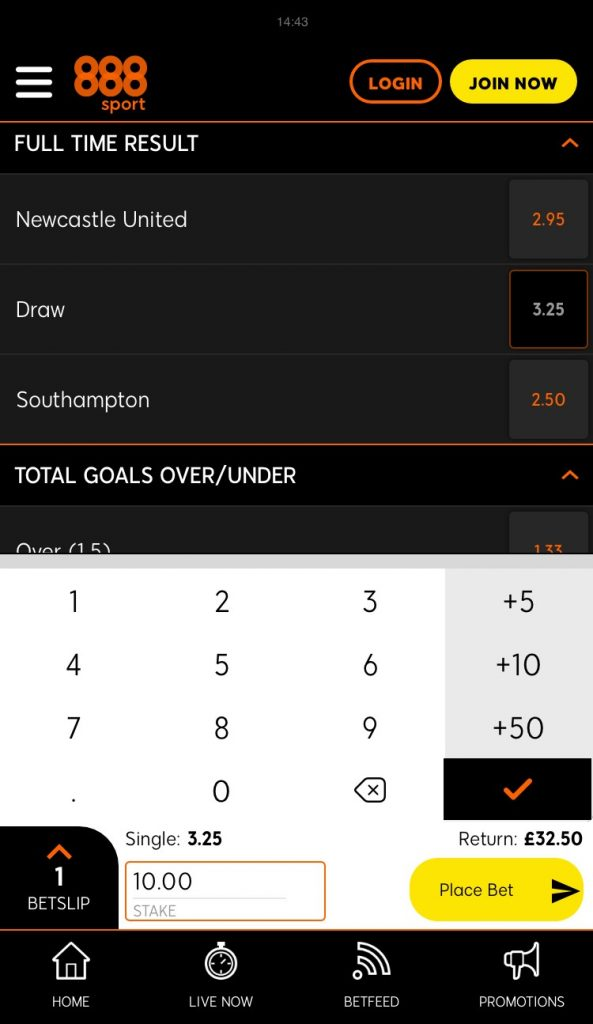 888Sport betting app