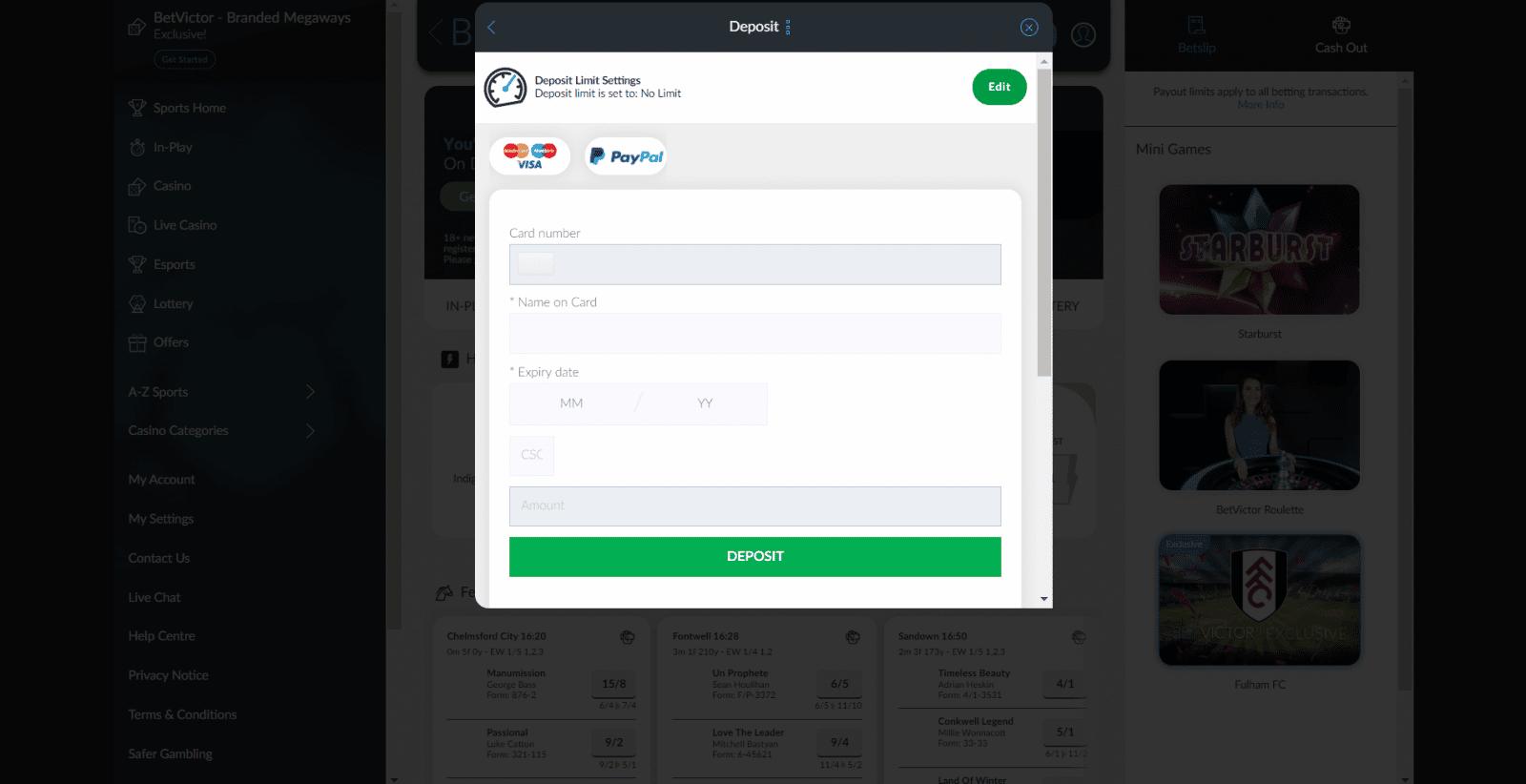BetVictor free bet - deposit methods