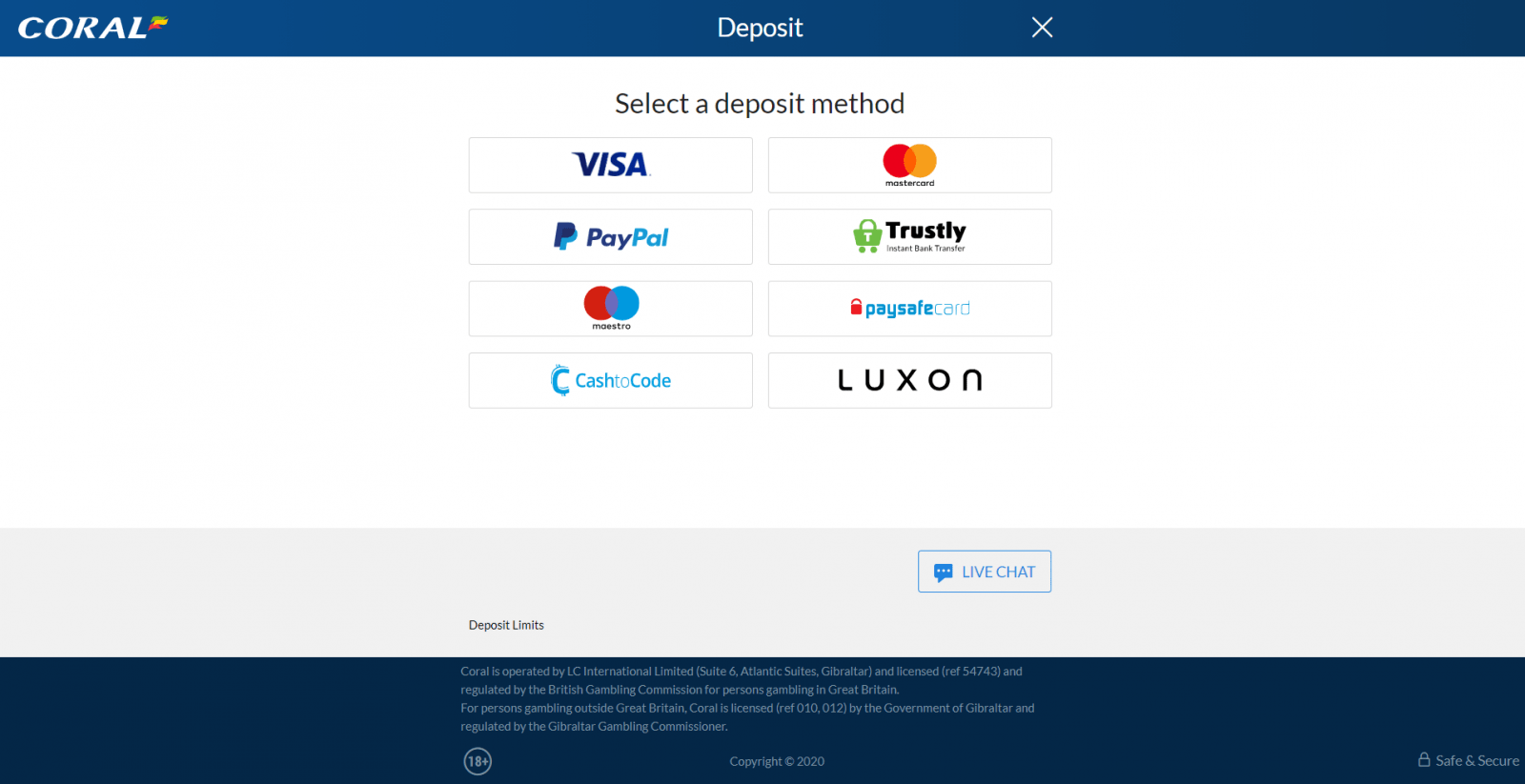 coral free bet - payment options