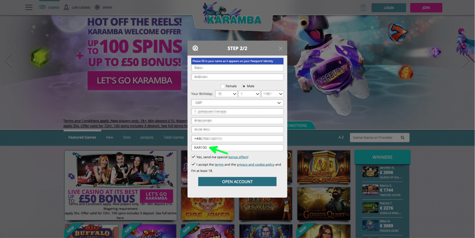 Karamba promo code 2
