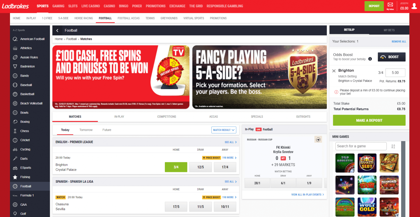 Ladbrokes free bet - bet placement