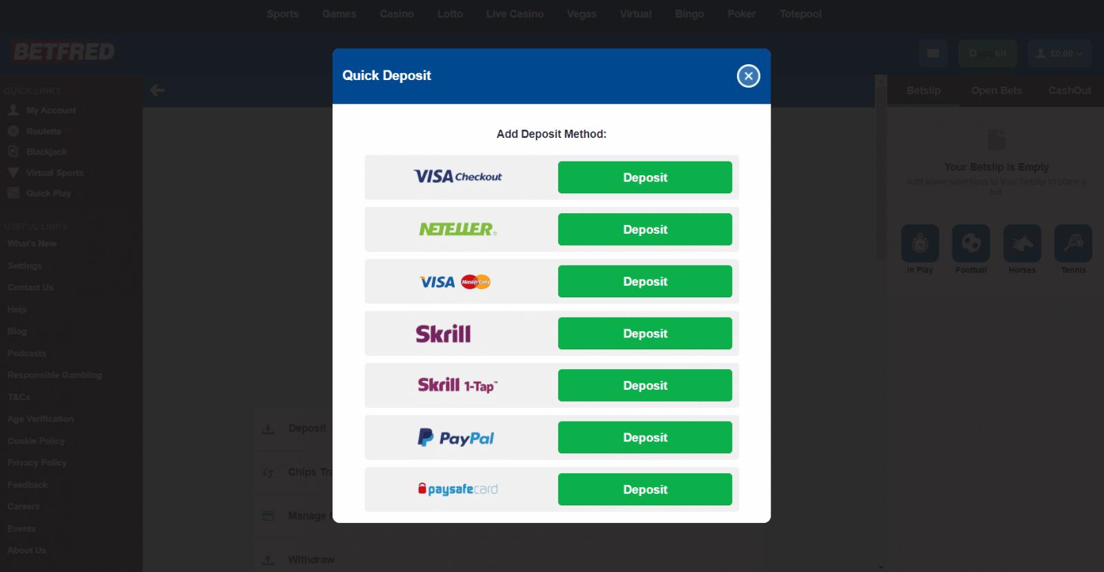 Betfred free bet offer - Deposit screen