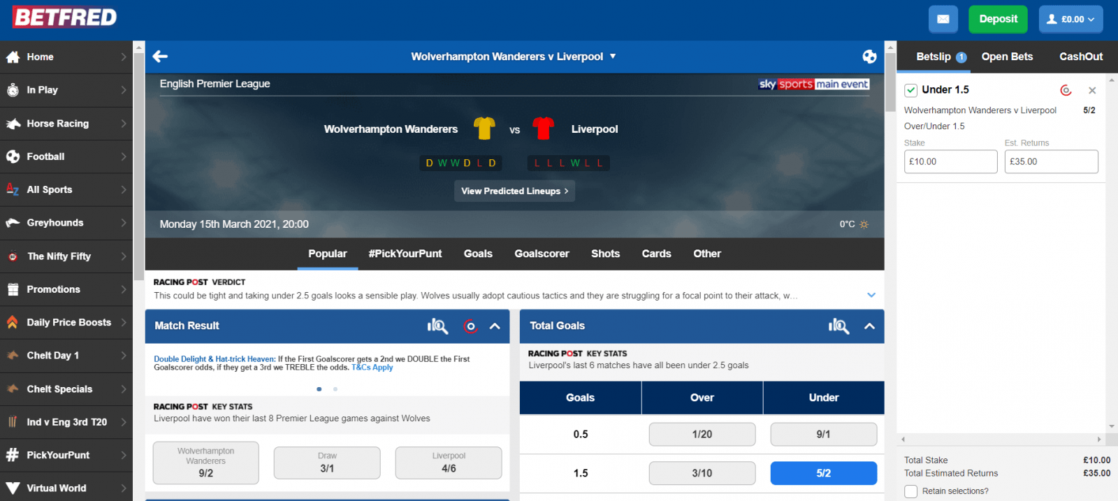 Betfred free bet offer - qualifying wager