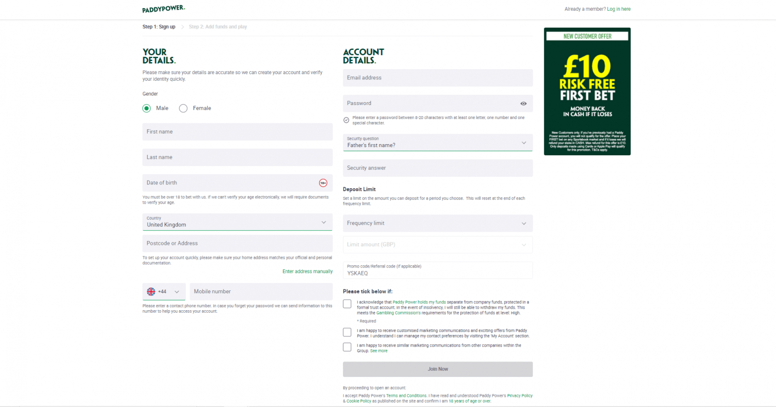 Paddy Power free bet - sign up screen