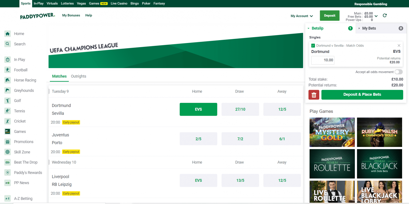 Paddy Power free bet - qualifying bet placement