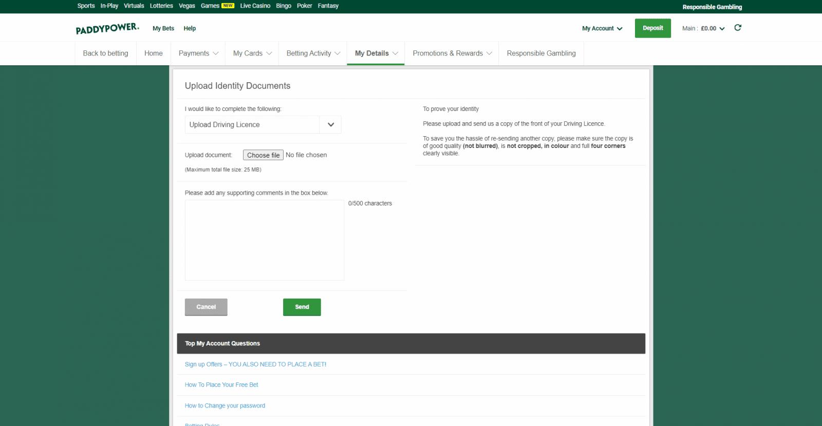 Paddy Power free bet - ID verification tool