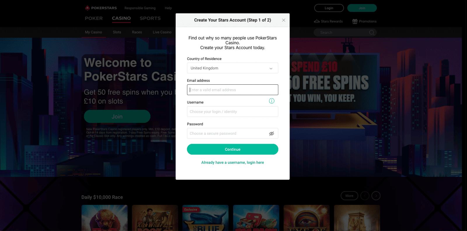 PokerStars Casino Sign Up 2