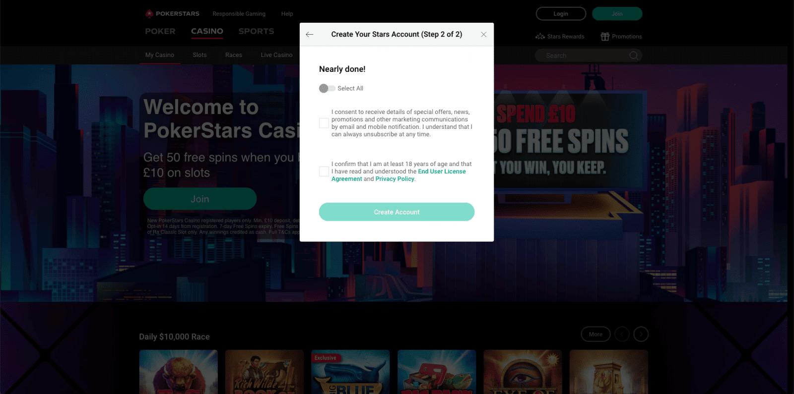 PokerStars Casino Sign Up 3