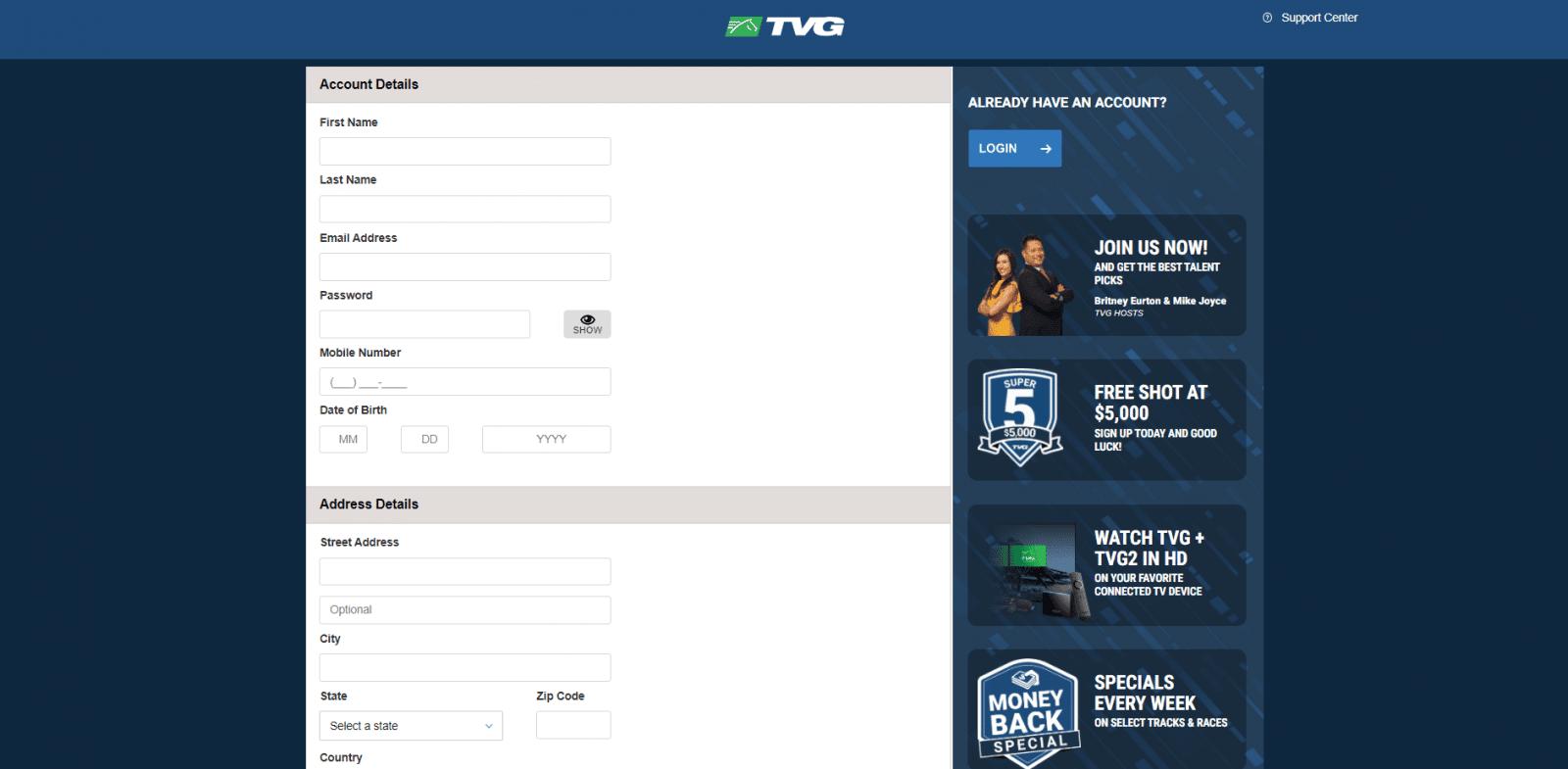 Kentucky derby betting - registration screen