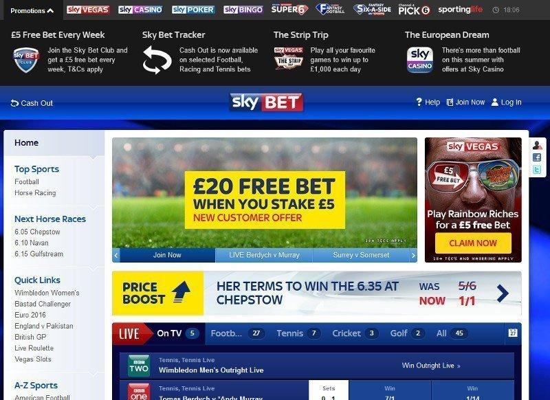 Skybet free bet sportsbook