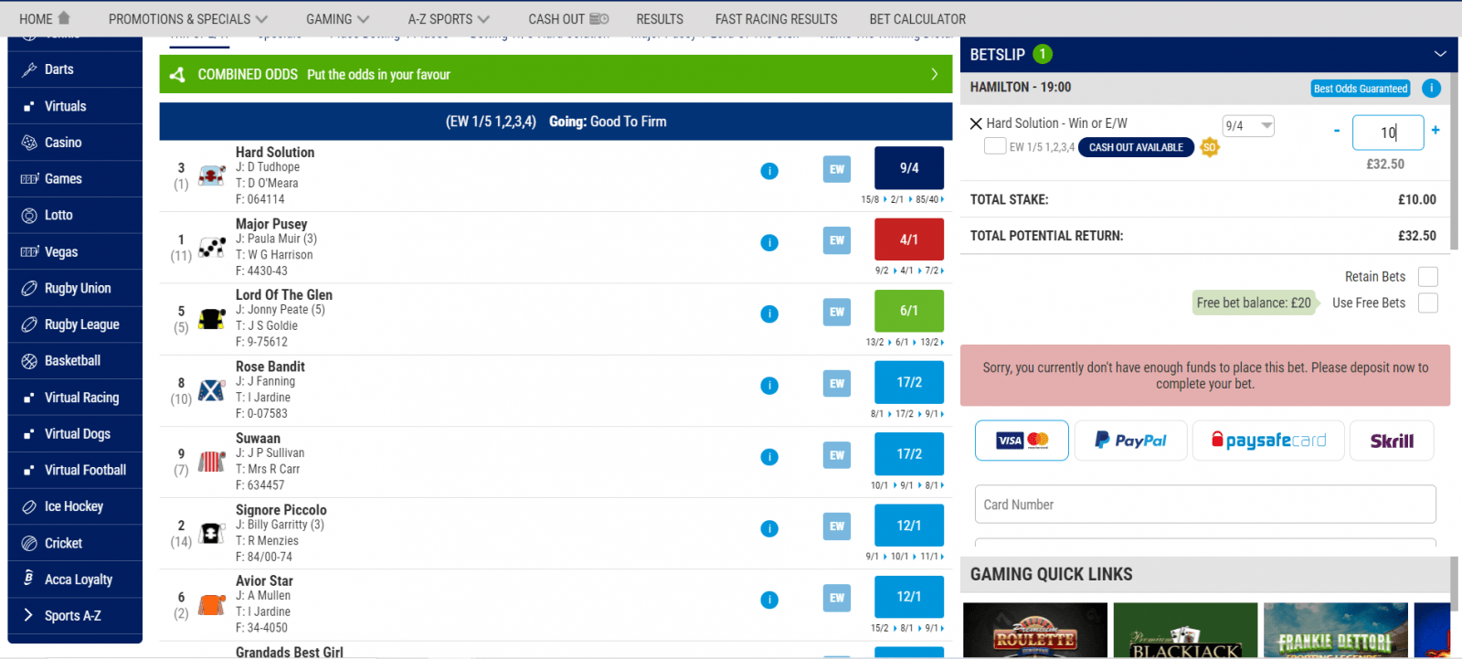 horse racing streaming - boylesports bet placement