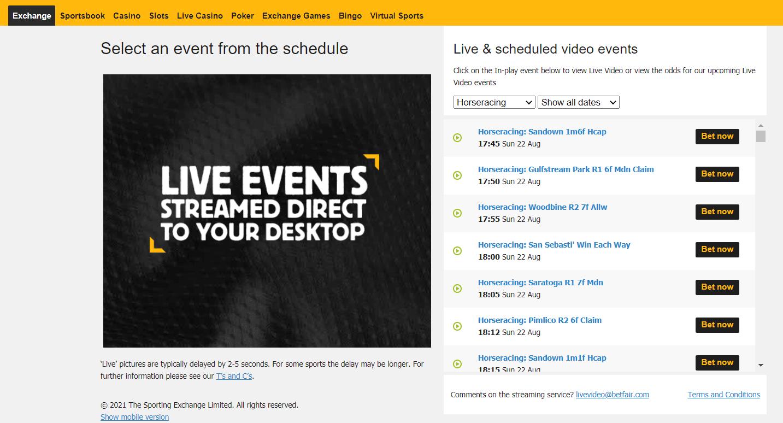 Bet365 vs Betfair - Betfair live streaming
