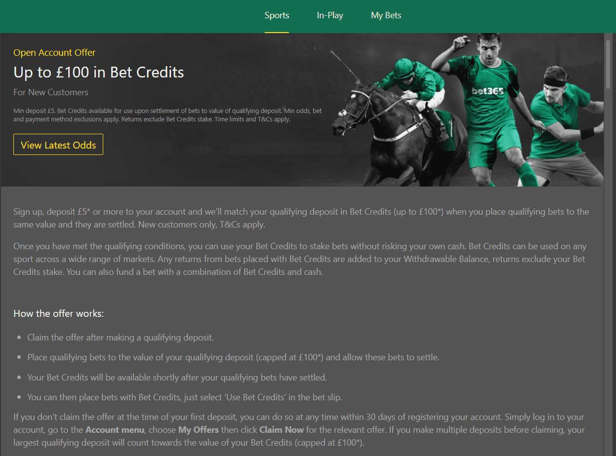 Betfair vs Bet365 - Bet365 offers