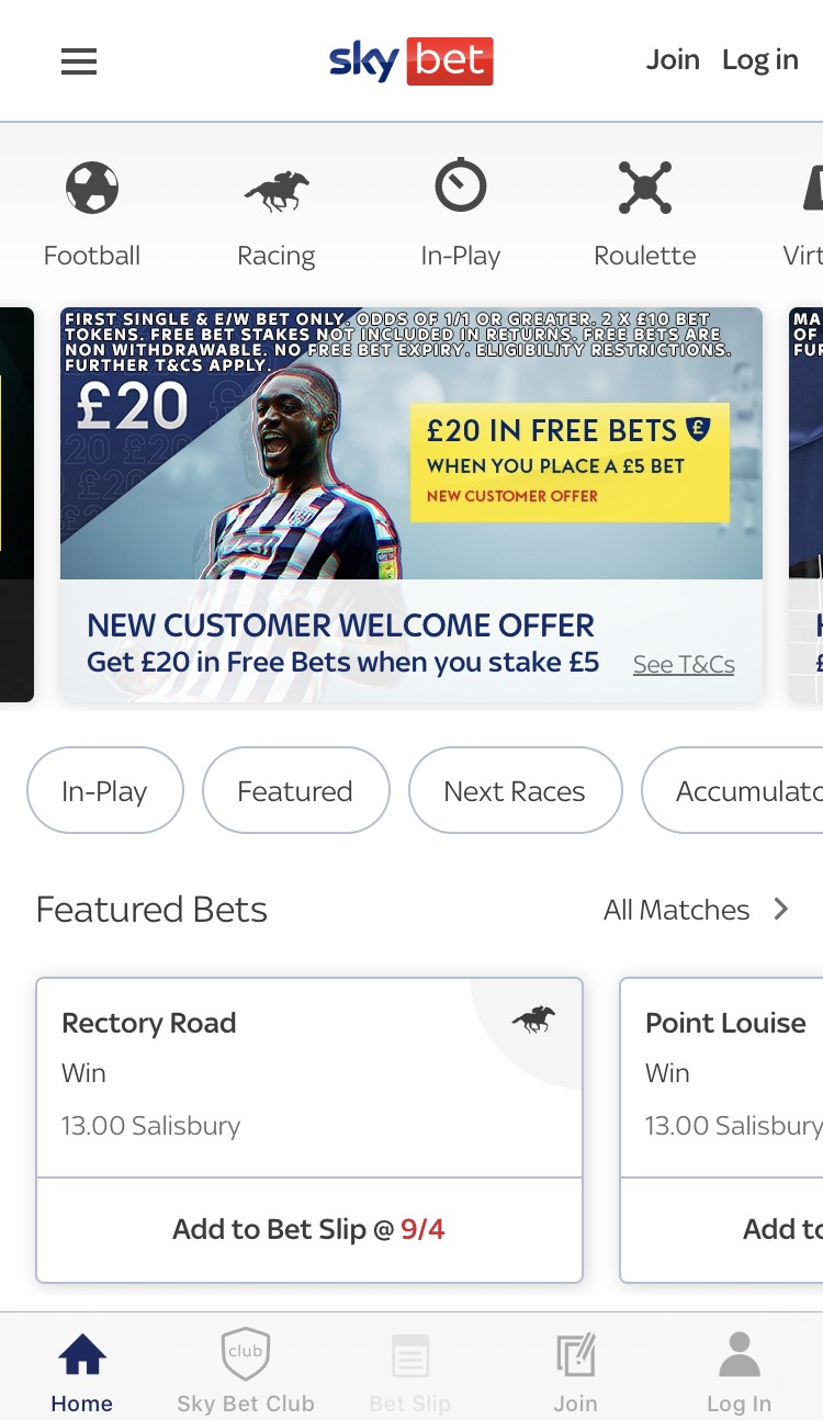 sky bet app review - appearance