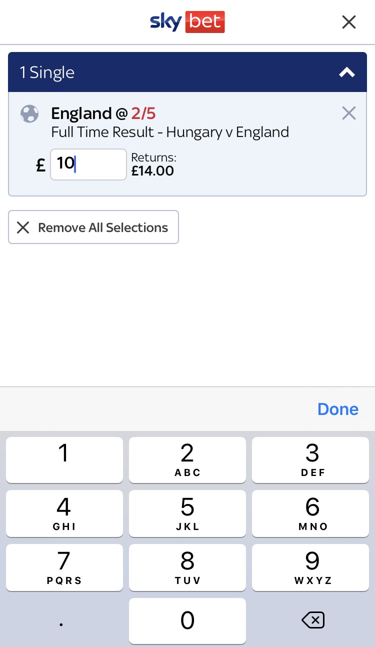 sky bet app review - bet placement