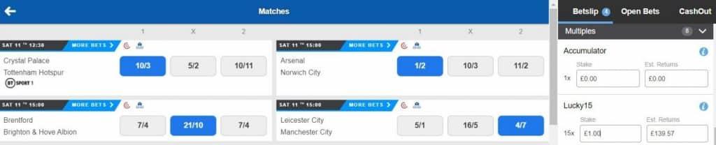 lucky 15 bet